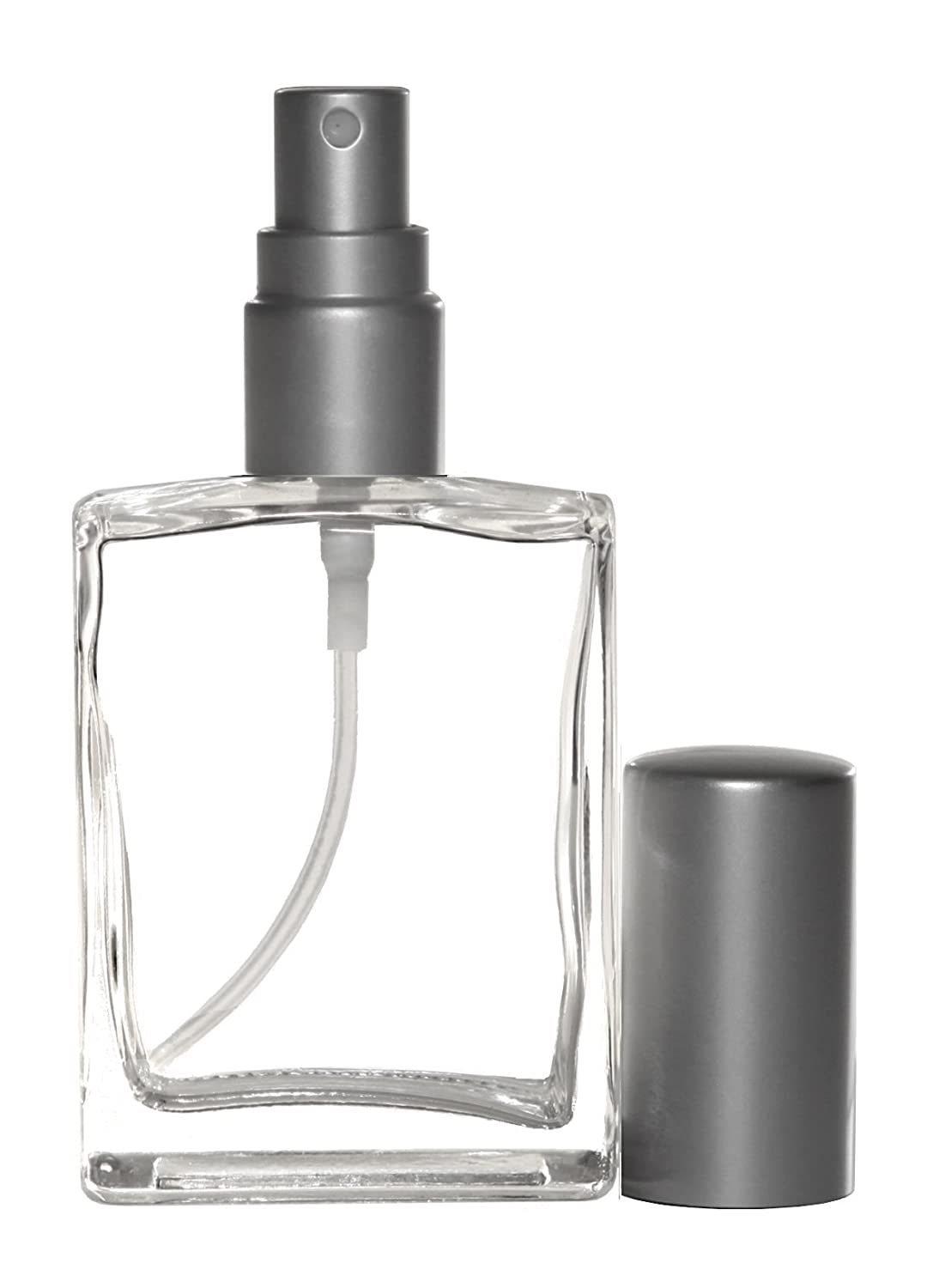 Riverrun Perfume Atomizer, Flat Glass Bottle, Matte Silver Fine Mist Sprayer 1 2 oz. 15ml Set of 6