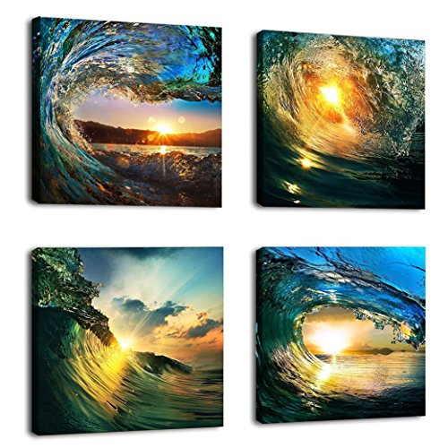 Natural art – Sunrise in Sea Wave Art, Ocean View Painting, Print on Canvas, Wall Decoration, Wrapped with Wooden Frame, Easy to Hang, 4 pieces combination of one set (12×12in×4pcs)