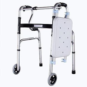 Sueño Ancianos andador (con asiento) de aluminio ligero plegable ...