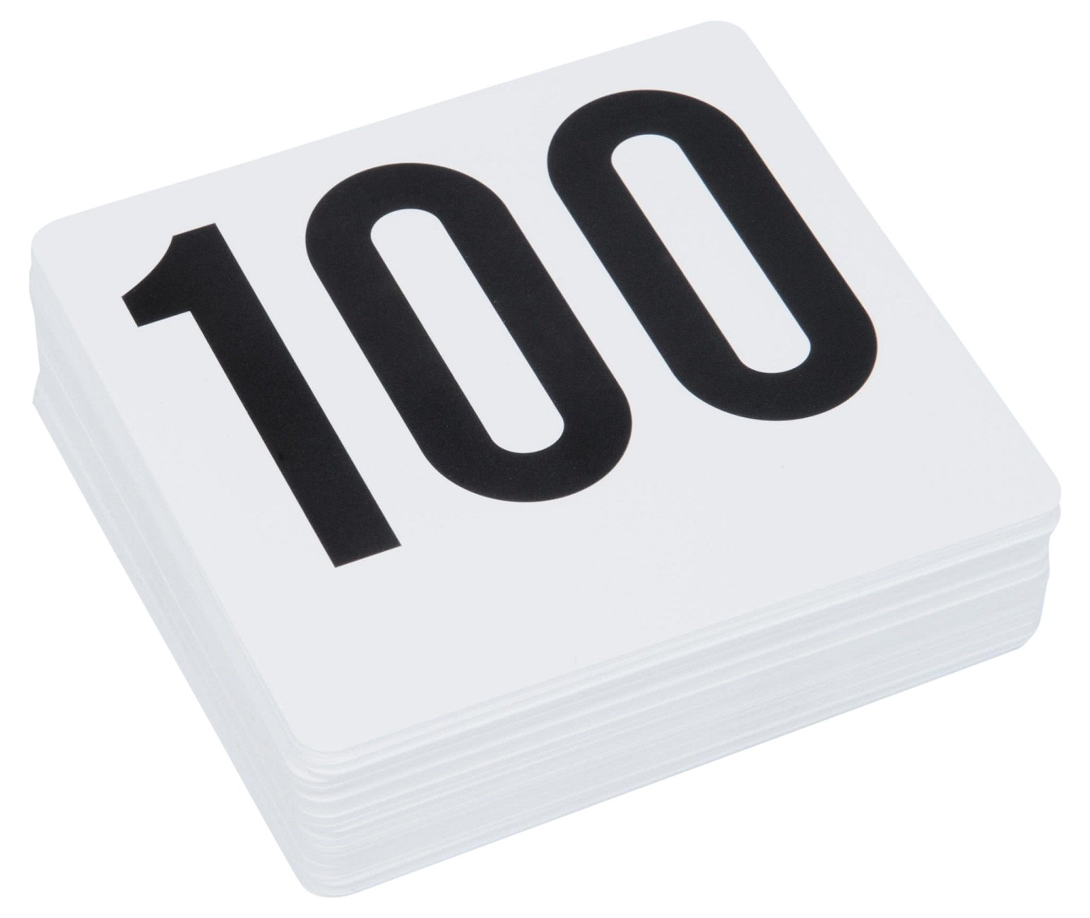 ROY TN 1 100 -Royal Industries Number 1-100 Plastic Number Card Set, Plastic, 4'' by 4'', White Base with Black Numbers