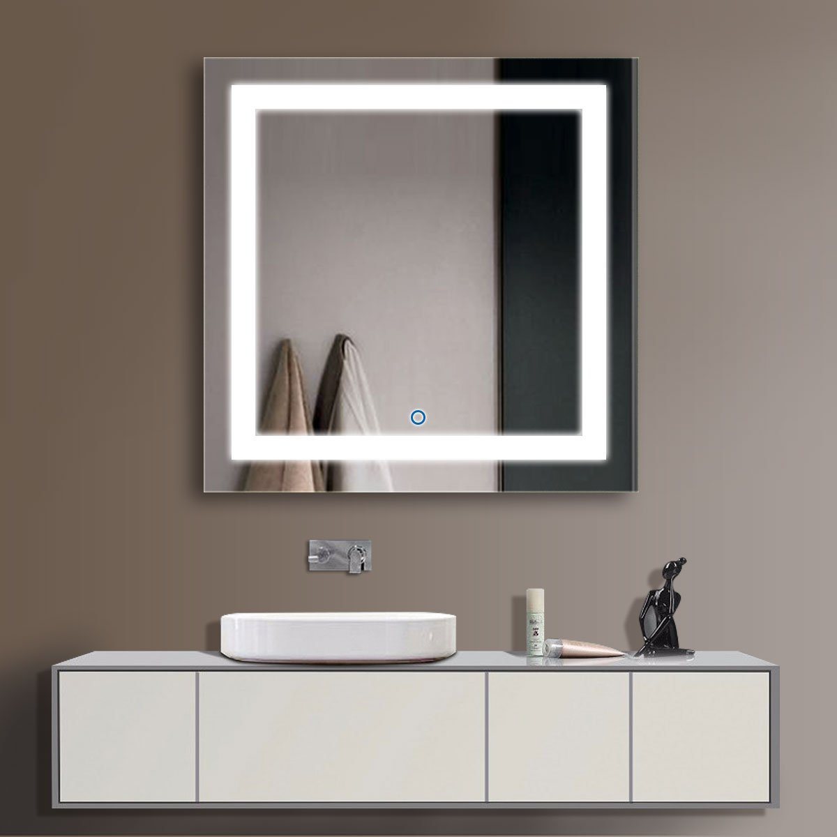 D-HYH 36 x 36 In LED Bathroom Silvered Mirror with Touch Button D-CK168-E