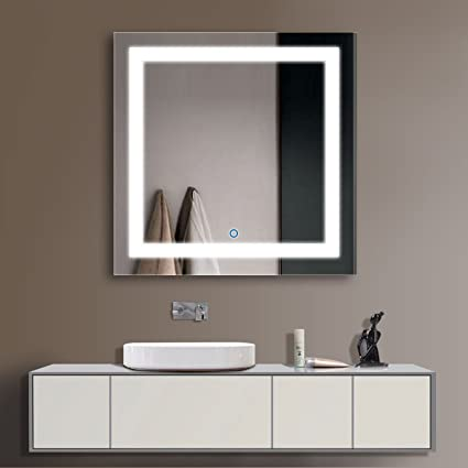 New White Vanity Mirror with Shelf