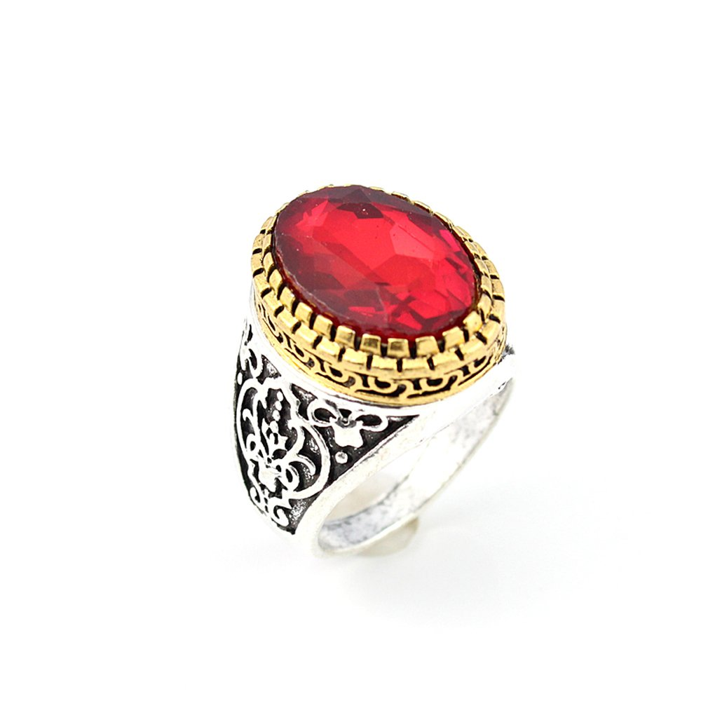 BEST QUALITY GARNET FASHION JEWELRY SILVER PLATED AND BRASS RING 9 S22875