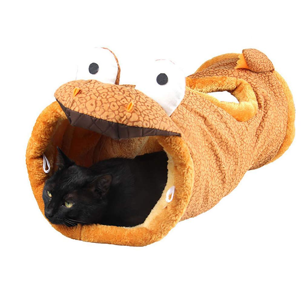 Pet Cat Tunnel 2 Hole Short Plush Collapsible Tunnel Cat Rabbit Toy,C