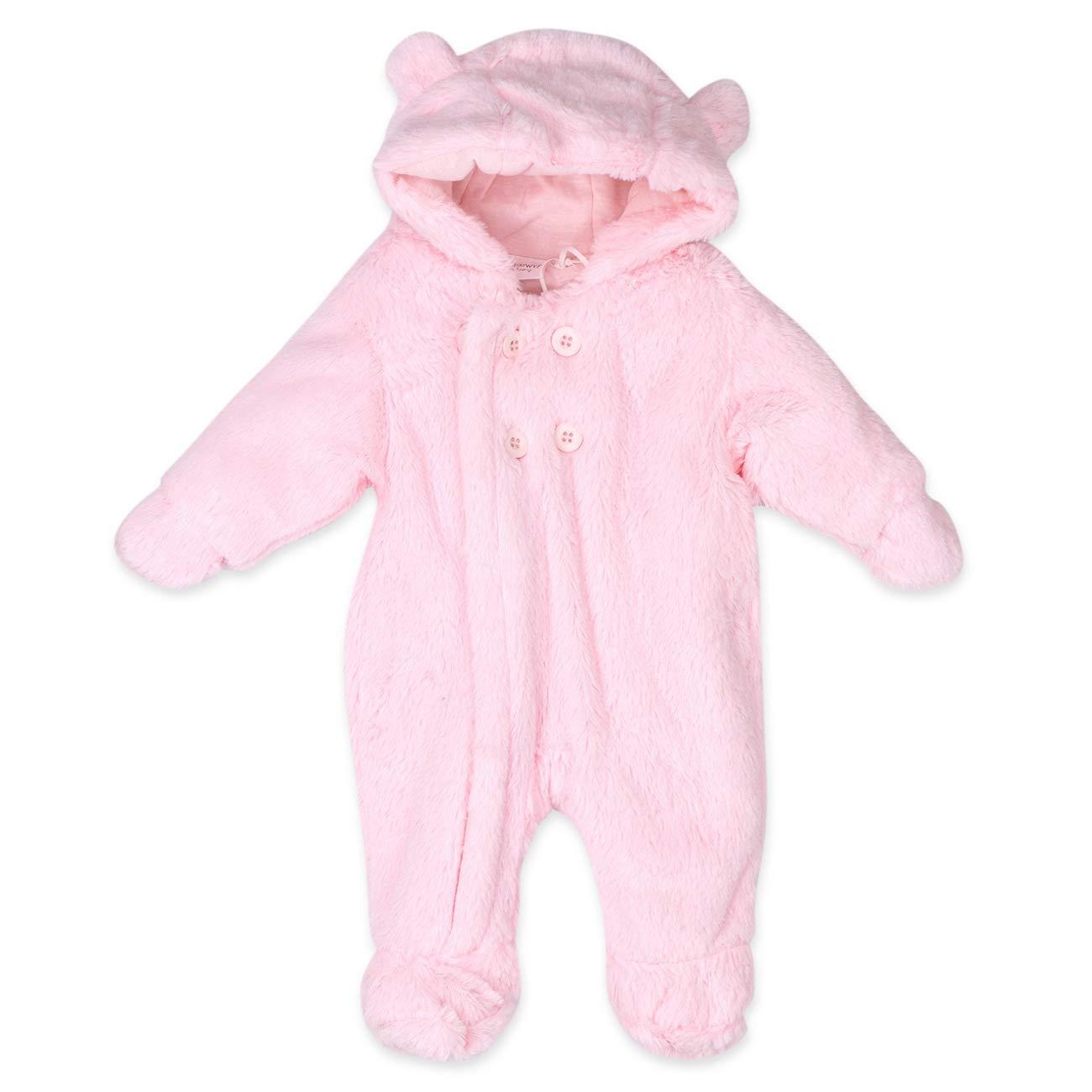 Baby Town Baby Schneeanzug Overall Mä dchen | Farbe: rosa | Baby Winteranzug mit Kapuze und Handschuhen fü r Neugeborene & Kleinkinder | Grö ß e: 0-3 Monate (56/62) Babytown