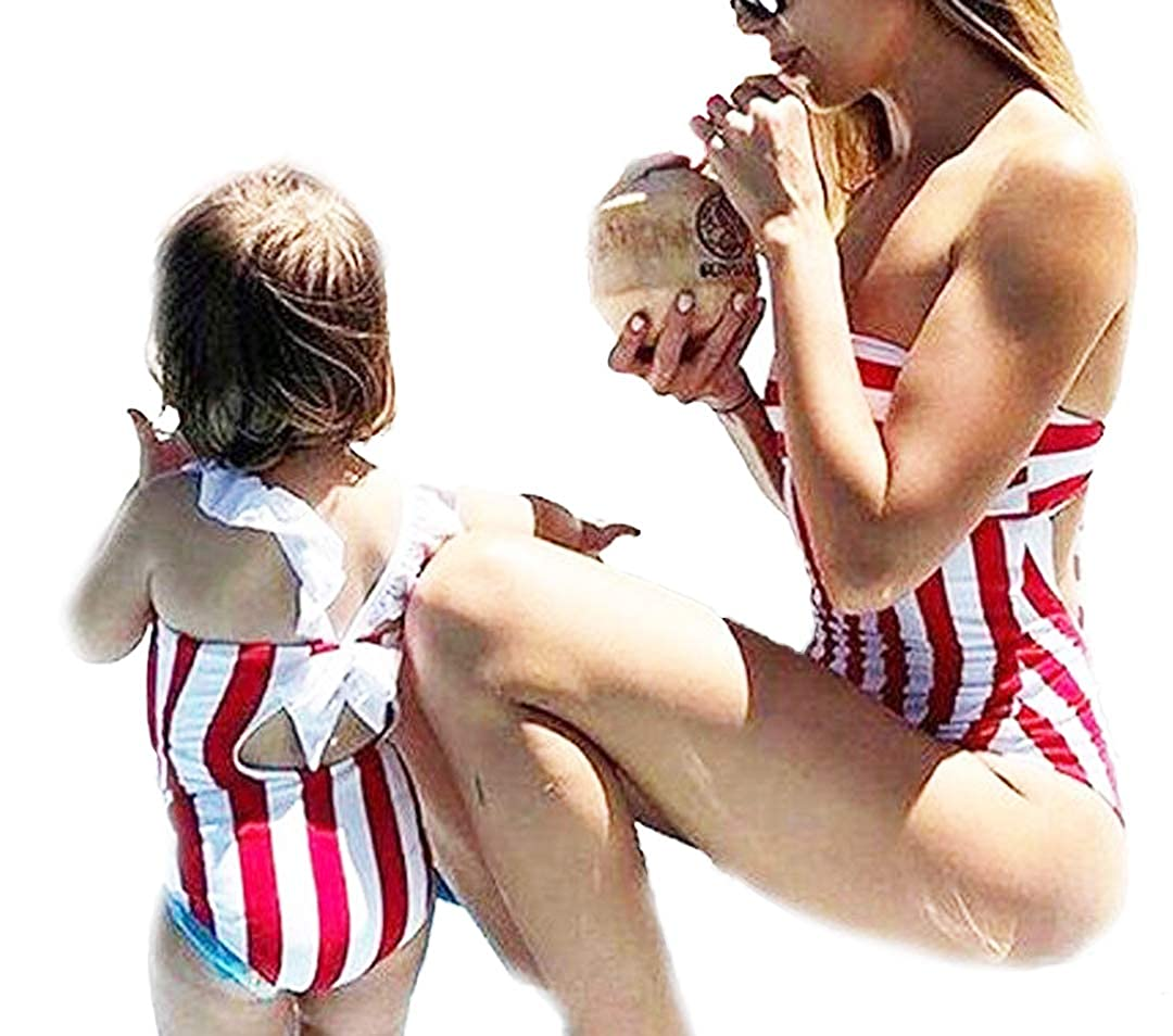 WenaZao Mama and Girls Matching One Piece Swimsuits Off The Shoulder Striped Ruffle Bathing Suit Swimwear