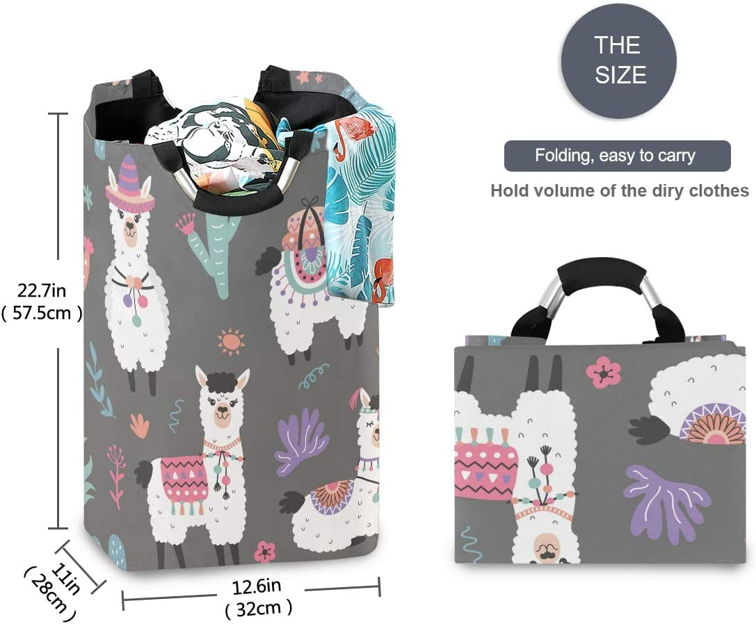 DOMIKING Llama Alpaca Laundry Hamper 12.6 x 11 x 22.7 Inch Collapsible Organizer Basket Clothes Laundry Basket Storage Organizer for Toy Collection