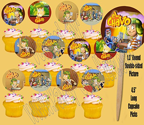 Party Over Here El Chavo Mexican TV Sitcom Double-sided Images Cupcake Picks Cake Topper -12 pcs