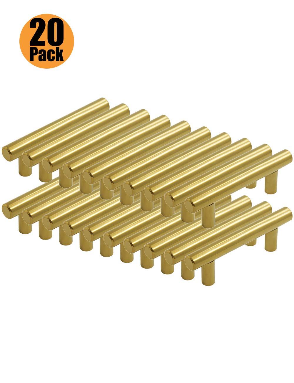 Tiradores de acero inoxidable para puertas de armarios de cocina agujero /único//64//76//96//128//160//192//224//256 mm serie de mangos dorados en forma de T PinLin con tornillos de 6 x 25 mm dorado
