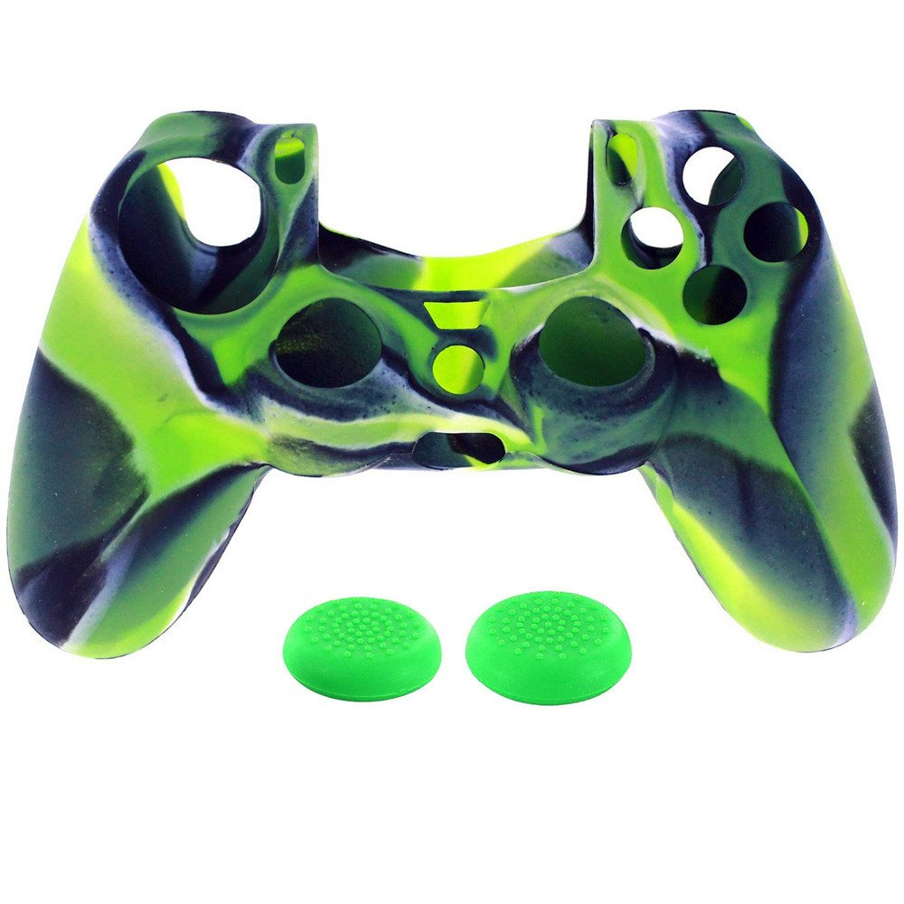 Saying Skin for PS4/PS4 Slim/PS4 Pro/Playstation 4/Controller, PS4 Controller Cover Skin Case, Camouflage Anti-Slip Silicone Skin Set, Controller Skin x 1 + PRO Thumb x 2 (Green)