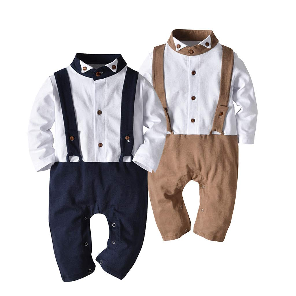 LiLiMeng Newborn Baby Boy Gentleman Suspender Long Sleeve Romper with Bowtie Outfits Jumpsuit Clothes