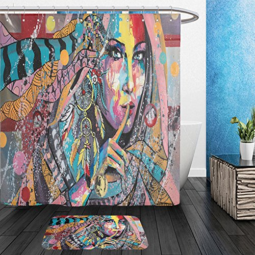 Vanfan Bathroom 2 Suits 1 Shower Curtains &  1 Floor Mats Original oil painting, contemporary style, made on stretched canvas with palette knife and brush. A girl portrait, in overalls, wearing amulet