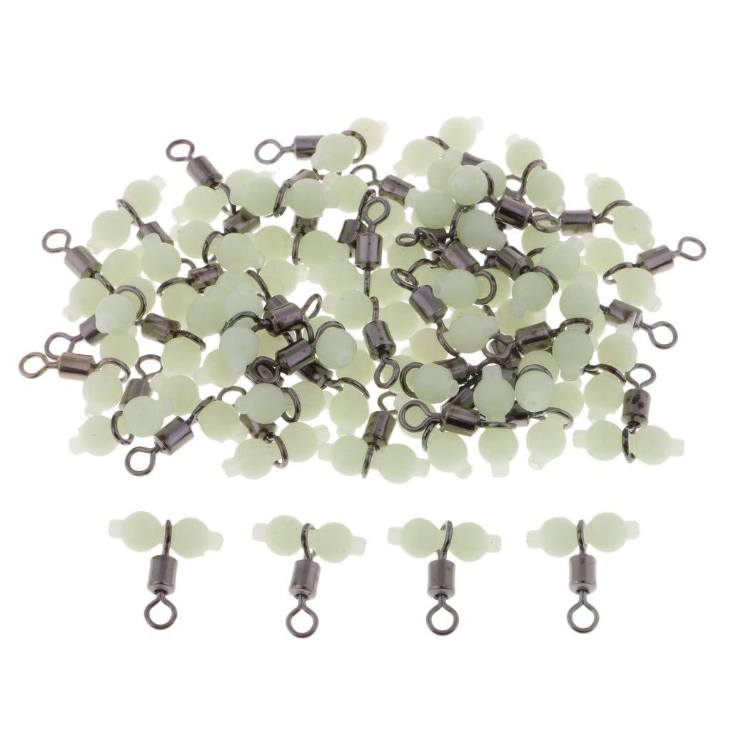 B Baosity 50 Pcs Giros Luminoso para Pesca en Acero Inoxidable Pl/ástico Conector Equipo Anticorrosi/ón
