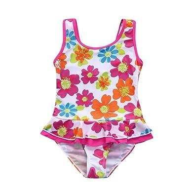 f02e84cd0b57f Felicy Toddler Kids Baby Girls Sleeveless Swimwear Flower Print Ruffles One  Piece Dress Beachwear Bodysuit Bathing Bikini Swimsuit: Amazon.co.uk:  Clothing
