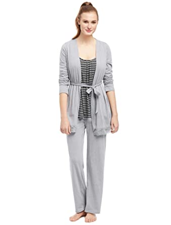 24887ad9004f8 Motherhood Bump in The Night Lace Trim Nursing 3 Piece Set Grey at Amazon  Women's Clothing store: