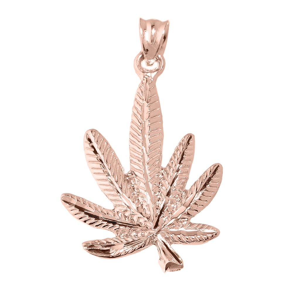 High Polish 14k Rose Gold Pot Cannabis Charm Marijuana Leaf Charm Pendant