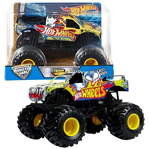 Hot Wheels Year 2016 Monster Jam 1:24 Scale Die Cast Metal Body Official Monster Truck - TEAM HOTWHEELS FIRESTORM (DJW83) with Monster Tires, Working Suspension and 4 Wheel (Monster Truck Body)