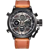 HARRYSTORE Men's Sport Quartz Watch with LED,Military Army Analog Leather Wrist Watch