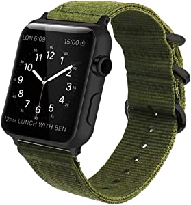 42mm 44mm Green Compatible Apple Watch Band Nylon Black NATO Buckle iWatch Band Series 4 Series 3 Series 2 Series 1 Women&Men