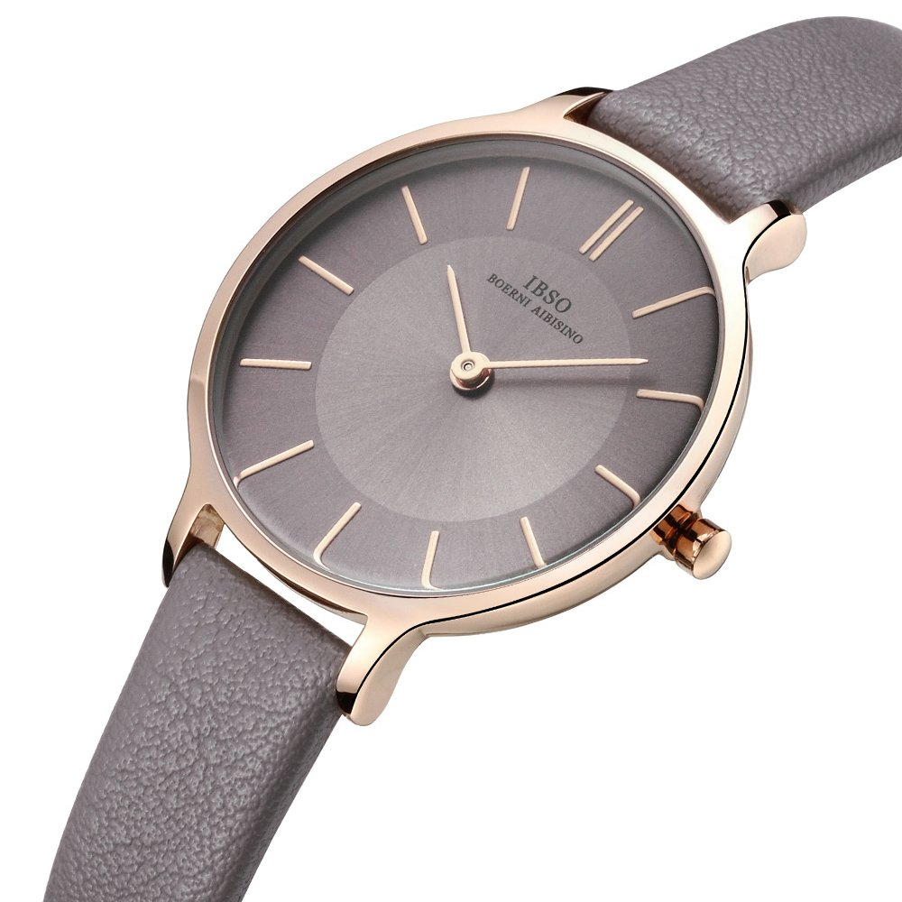 Women Leather Strap Round Watch Fashion Simple Ultra-Thin Quartz Analog Ladies Elegant Wristwatch (6608 All Grey)