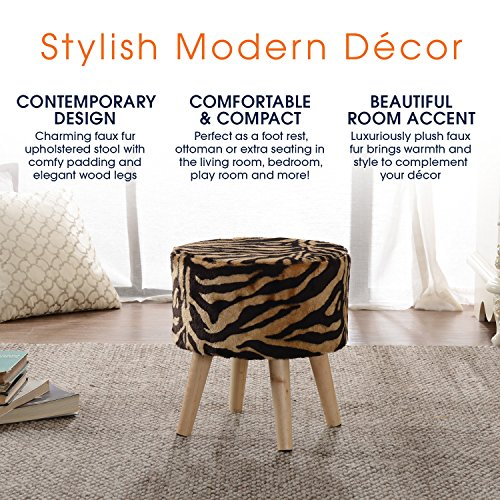 Cheer Collection 13'' Round Ottoman | Super Soft Decorative Tiger Print Faux Fur Foot Stool with Wood Legs by Cheer Collection (Image #4)