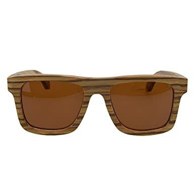 8a89787d5d MagiDeal Man Women Wooden Sunglasses with Round Bamboo Glasses Case And  Glasses Cloth - Brown