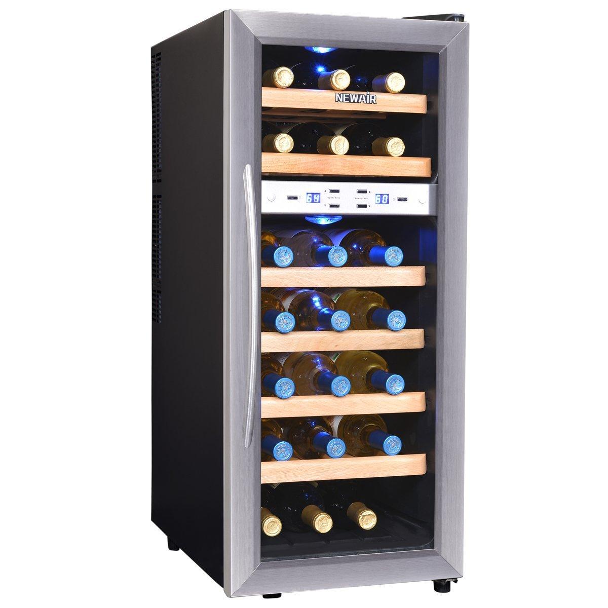 NewAir 21 Bottle Capacity Dual Zone Wine Cooler Fridge Renewed