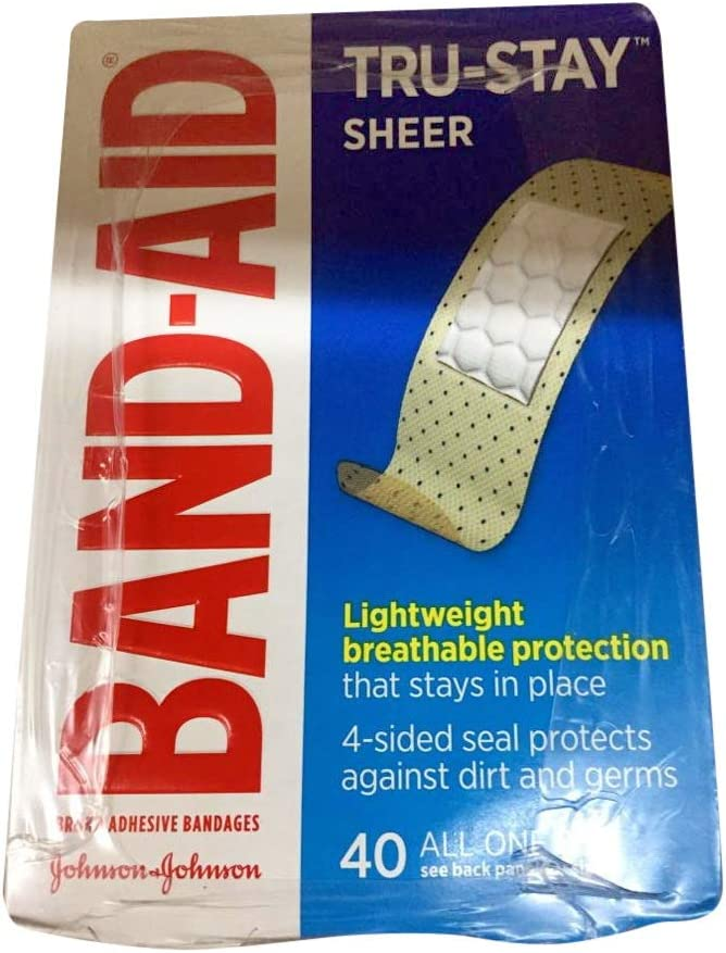 BAND-AID Sheer Strips Adhesive Bandages, All One Size 40 ea (Pack of 4)