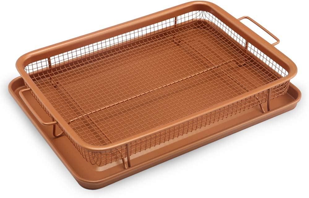 Crisper Basket,Crisper Tray, Baking Pan Set Basket,Copper Crisper Tray, Deluxe Air Fry in Your Oven,Baking Pan-2-Piece Set (Square)