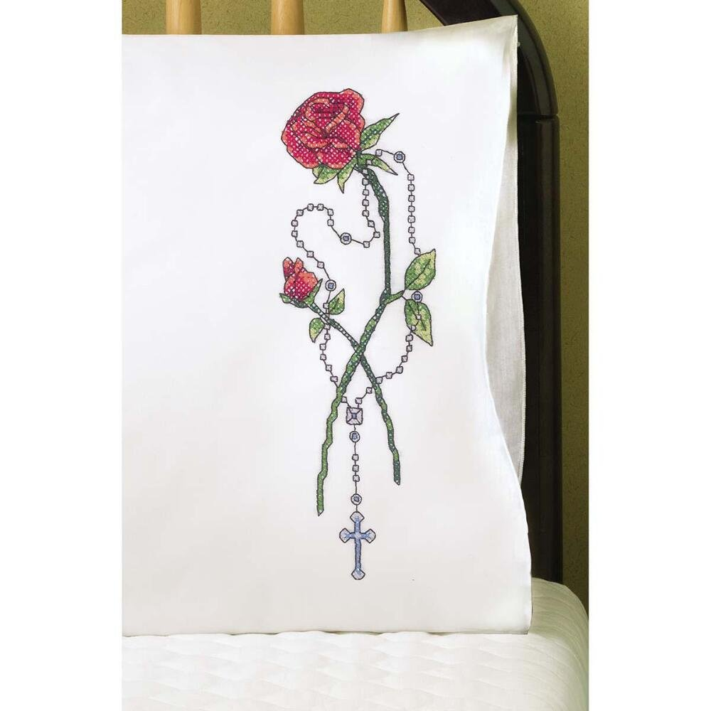 Design Works Rosary /& Rose Pillowcase Pair Stamped Cross-Stitch