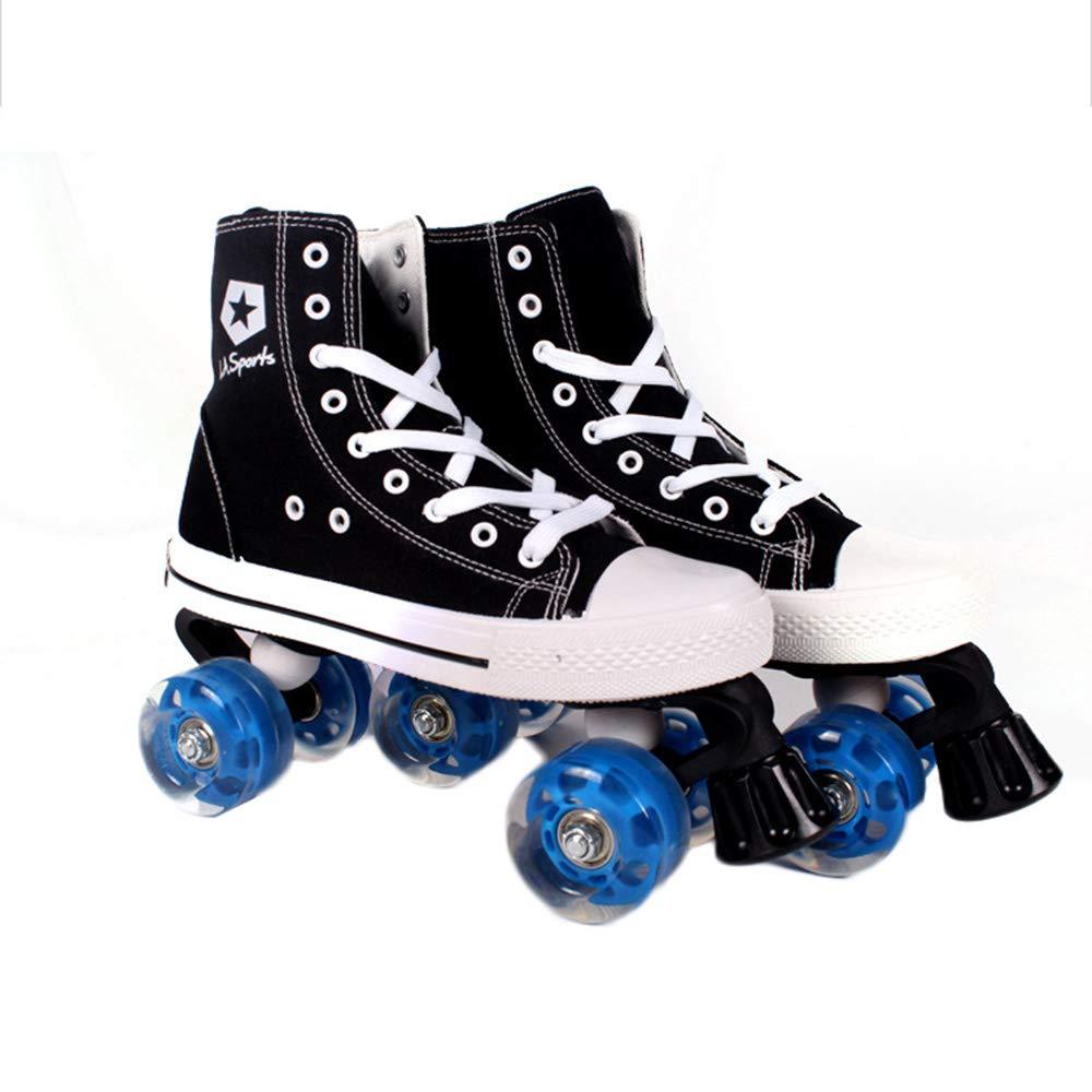 Outdoor product Zweireihige Canvas-Skates, sichere und atmungsaktive Bequeme Fashion-Rollschuhe, multifunktionale Fitness-Rollschuhe für den Innen- und Außenbereich, Geschenke für Kinder B07QM1WKLY Rollschuhe Umweltfreundlich