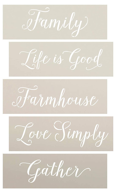 Amazon com: Simple Family Farmhouse Script Stencil Set by
