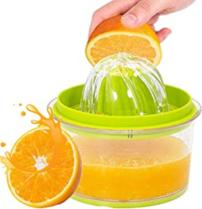 Citrus Lemon Orange Juicer, Manual Hand Squeezer with Built-in Measuring Cup and Grater, 4 in 1 16OZ Multi-function Manual Juicer with Multi-size Reamers Garlic Ginger Cheese Grater