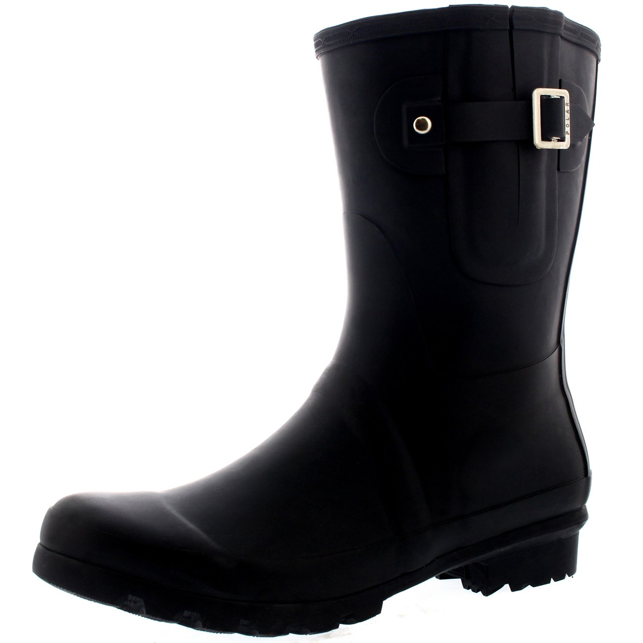 Polar Mens Adjustable Side Rubber Waterproof Rain Wellingtons Boots - Black - US13/EU46 - BL0232 by Polar Products (Image #1)