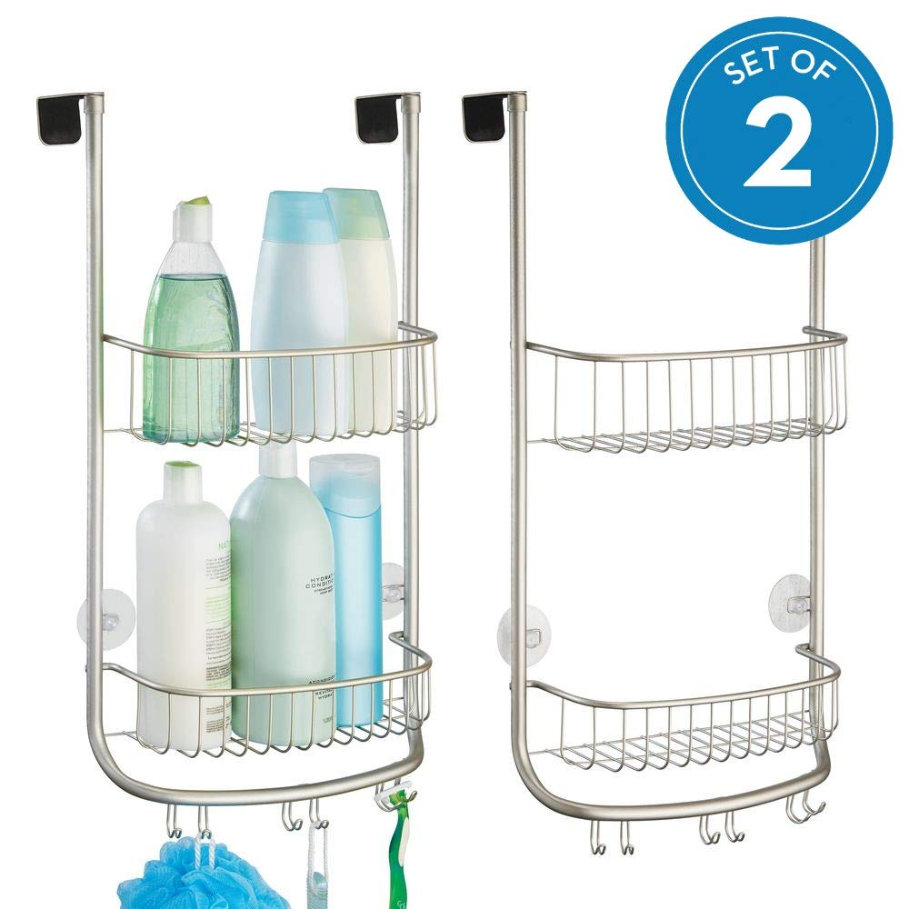 InterDesign Forma Metal Bathroom Over the Door Shower Caddy with Storage Baskets Shelves for Shampoo, Conditioner, Soap, Loofahs, Hand Towels, 12'' x 6.42'' x 24.08'', Set of 2, Satin Silver