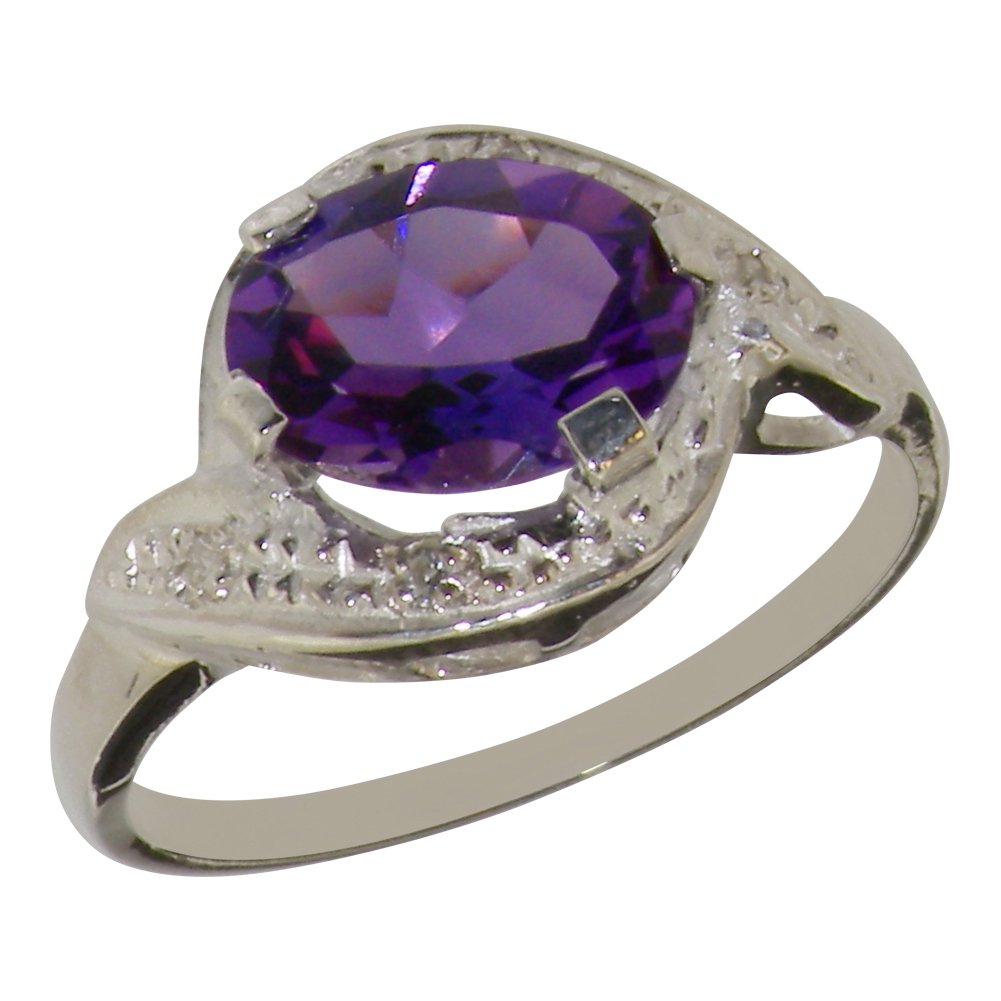 925 Sterling Silver Natural Amethyst & Diamond Womens Solitaire Ring (0.04 cttw, H-I Color, I2-I3 Clarity)