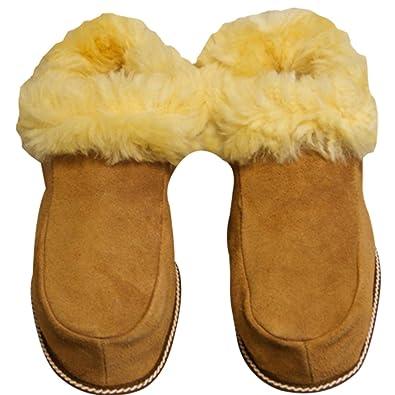 Schuhe aus LAMMFELL Hausschuhe aus Echtem Leder Hausschuhe Houseshoes Shoes Hüttenschuhe Pantoffeln sehr Warm Gr.36-48 (Beige, 45)