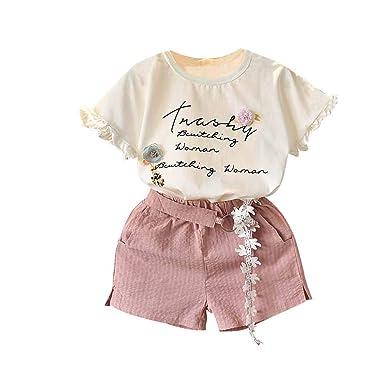808c752a2f4ee Hongyuangl 2019 Ensemble d été Enfants Fille T-Shirt à Manches Courtes +  Short en Coton imprimé 2 pièces  Amazon.fr  Vêtements et accessoires