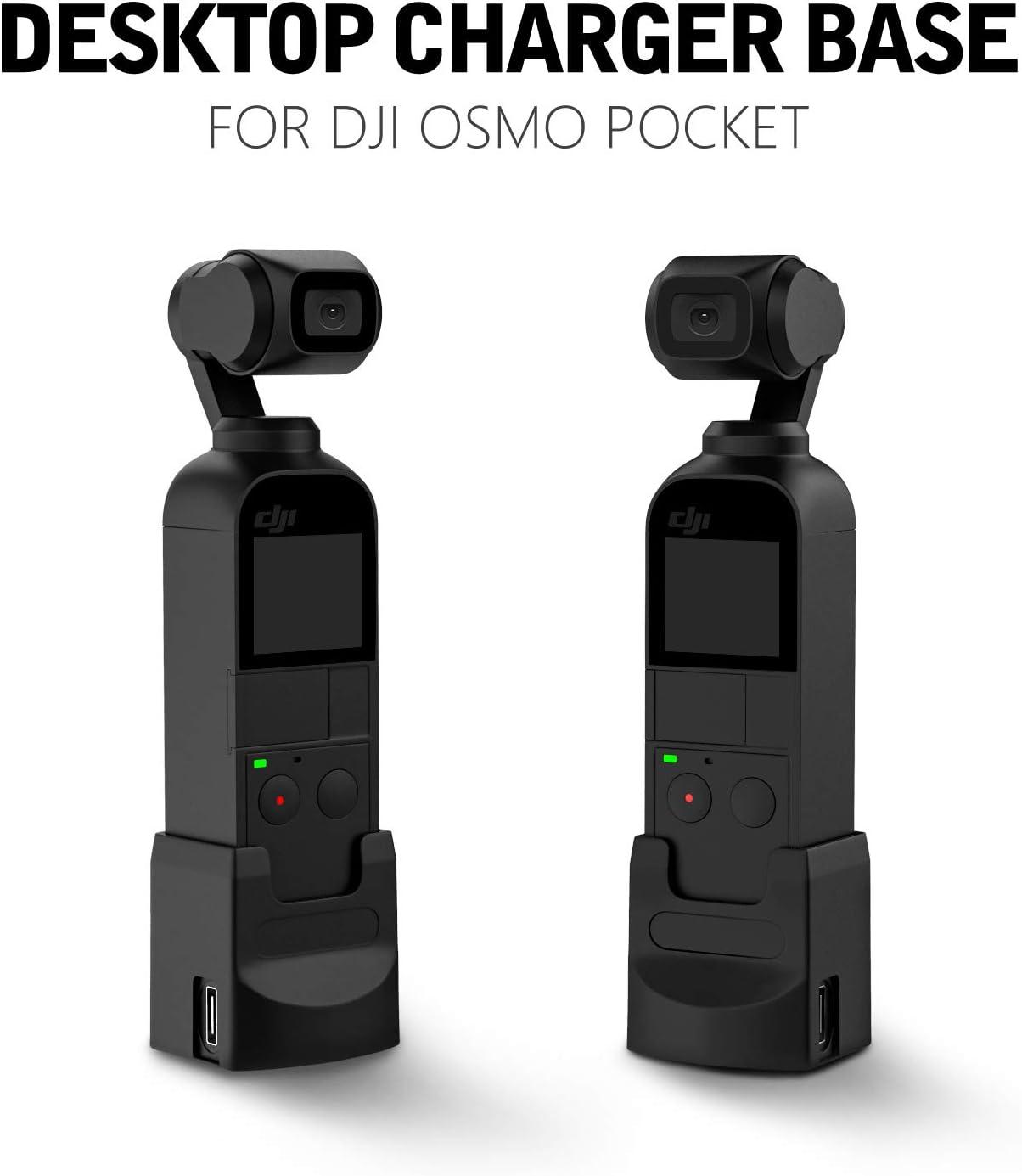 MoKo Base de Cargador para dji OSMO Pocket Negro 2 Type-C Puertos de Escritorio Cargador con Rosca de Tr/ípode de 1//4 Compatible con dji OSMO Pocket