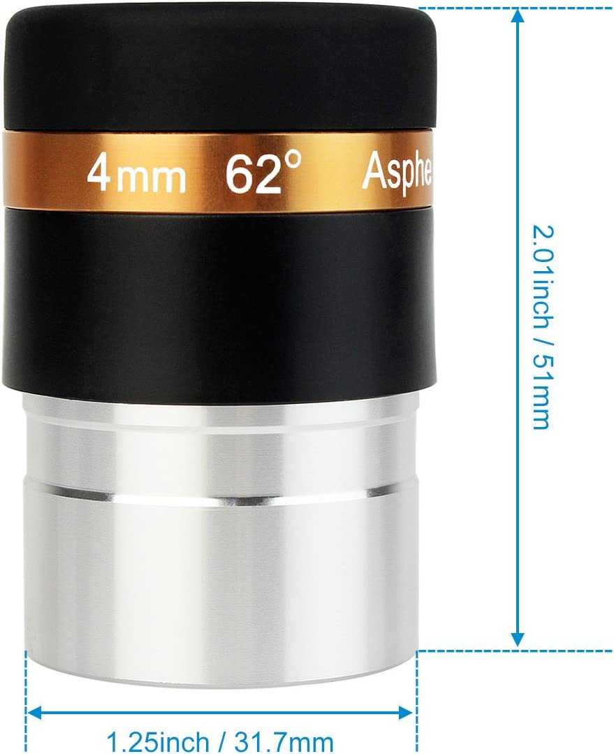 Svbony Eyepieces 4mm Telescopes Lens Wide Angle 62 Degree Aspheric Eyepiece HD Fully Coated Lens for 1.25 inches Astronomic Telescopes