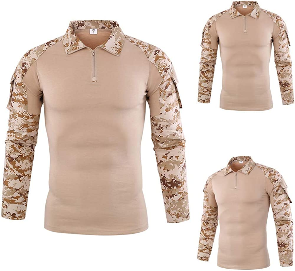 manadlian Homme Pull Manches Longues Uniforme Militaire Camouflage Chemises de Combat Attaque Rapide Costume V/êtements de Travail Cycliste Shirt Slim Fit Sweat-Shirt