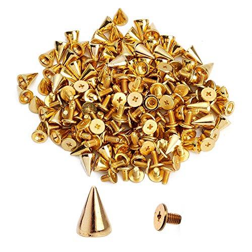 100pcs Cone Spikes Screwback Studs DIY Craft Cool Rivets Punk Stud Coincal 7x10mm 1/43/8 Flashing Golden