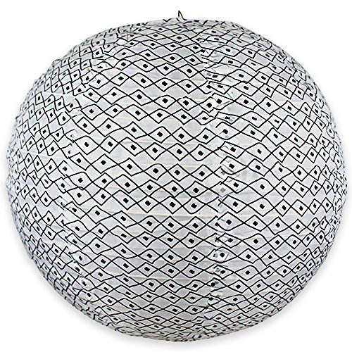 Just Artifacts 12' Round Faux Silk Hanging Chinese Lantern Decorative Lampshade (Black & White-Boho Diamond Pattern)