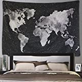 ARFBEAR Starry World Map Tapestry, Wall hangings Black and whitewatercolor Printed Amazing tablecloths Wall for Bedroom 59.1x79inchs