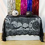 JunMu Happy Halloween 60'' x 84'' Rectangular Tablecloth, Polyester Lace Pumpkin Ghost Halloween Tablecloth Tablecovers Overlay - Perfect for Halloween Dinner Party and Scary Movie Nights
