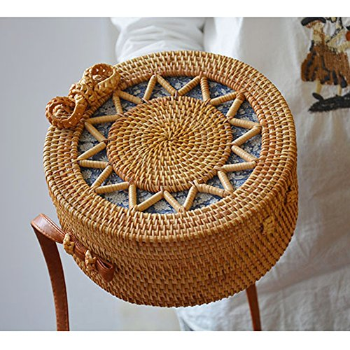 Bag Beach Carved Hand Hollow Women Summer Howoo Blue Lining Bag Straw Bag Basket for Bag Bag Weave Sunflower Handmade Girls Rattan Bag Blue Crossbody Bag Bag Shoulder Woven Design Lining Round 6wUPEUq