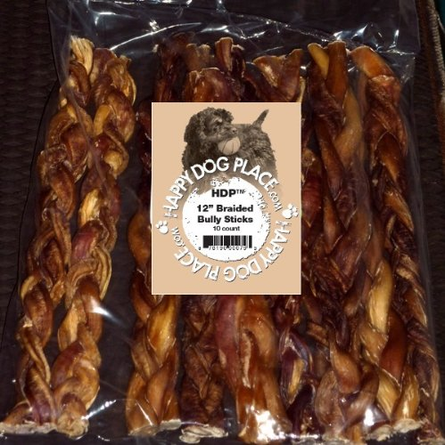 Braided 12'' Bully Sticks Select Pack of 10 by HDP