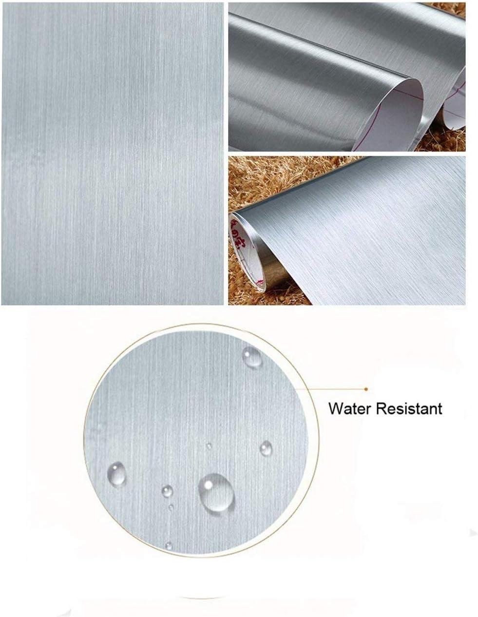 Peel y Stick cepillado acero inoxidable láminas de vinilo autoadhesivo Papel de contacto estante maletero para cubrir Backsplash horno lavavajillas despensa aparatos (60x 200 cm)