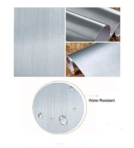 Peel y Stick cepillado acero inoxidable láminas de vinilo autoadhesivo Papel de contacto estante maletero para cubrir Backsplash horno lavavajillas ...