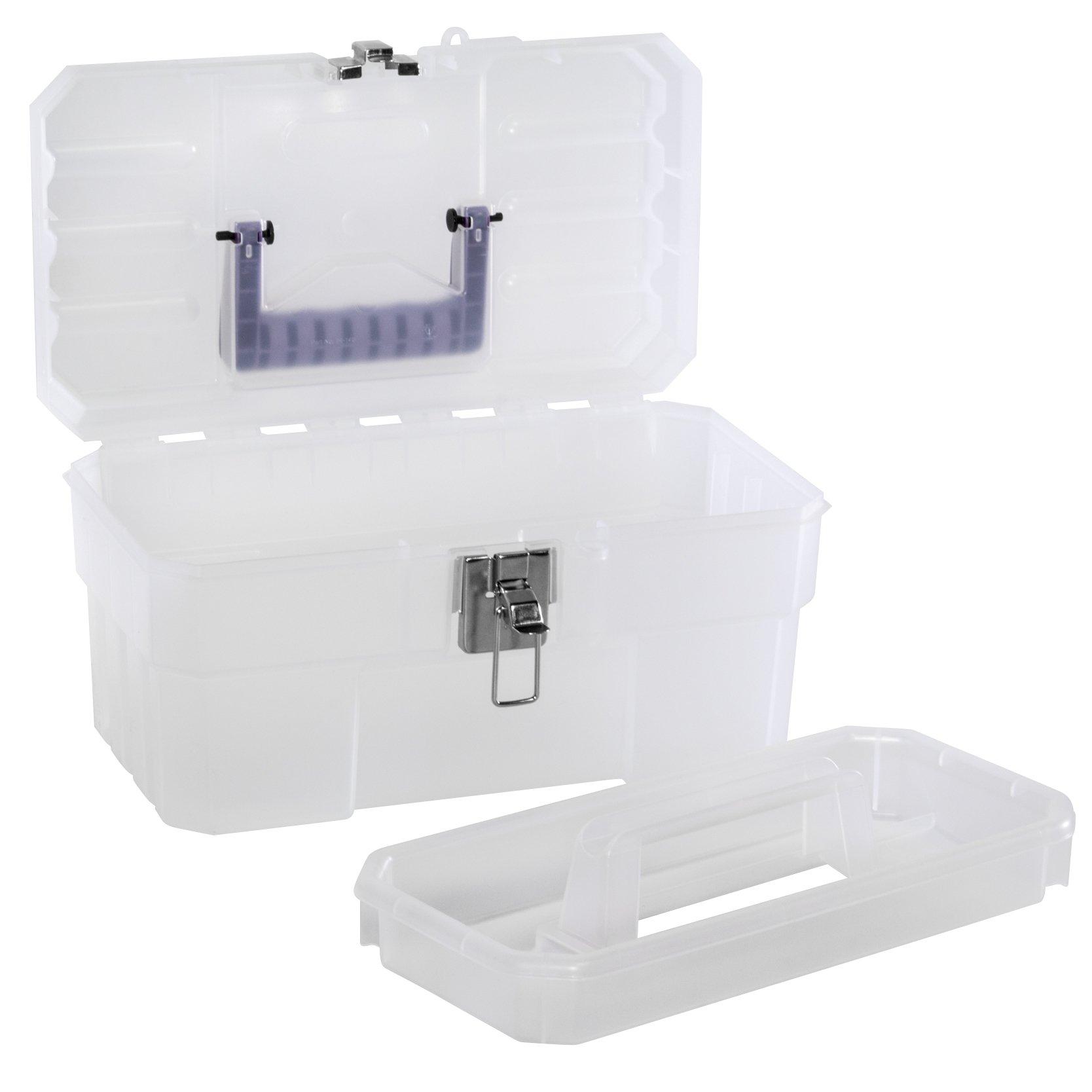 Akro-Mils 09514CFT 14-Inch Plastic Art Supply Craft Storage Tool Box, Semi-Clear